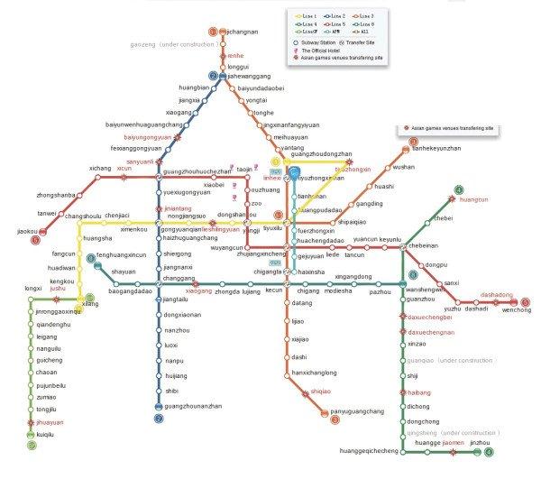 метро гуанчжоу карта
