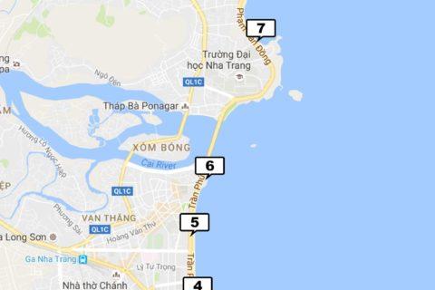 пляжи во Вьетнаме в Нячанге на карте