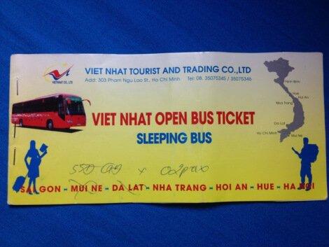 Билет на автобус Хошимин – Нячанг - Хойан - Хюэ - Ханой