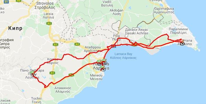 маршрут из Айя-Напы на машине