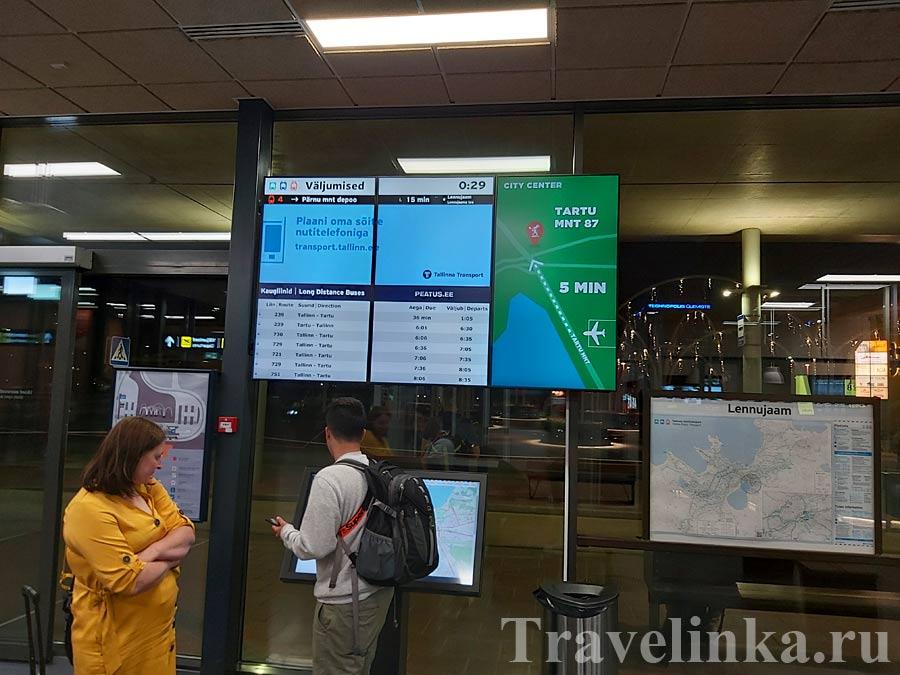 Табло в аэропорту Таллина