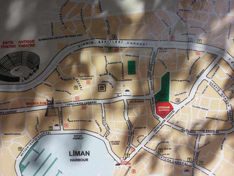 Карта Бодрума у отогара